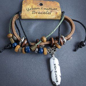 Kathleen Wrap Bracelet Brown Leather Personalized
